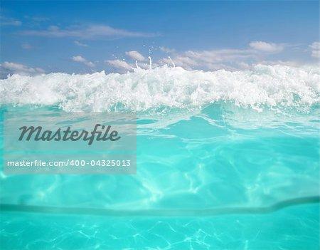 waterline caribbean sea underwater foam wave turquoise sea