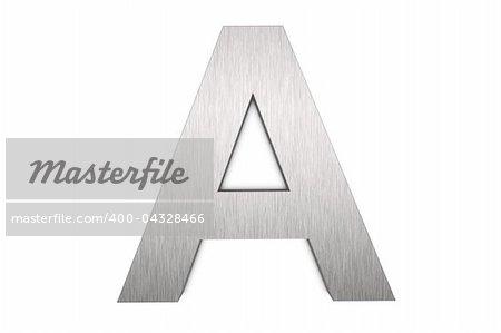 Brushed metal letter A