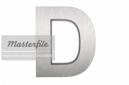 Brushed metal letter D