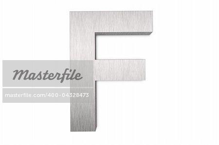 Brushed metal letter F