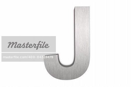 Brushed metal letter J