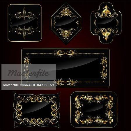 illustration of set of golden frame on black background
