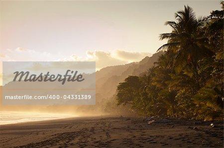 Beautiful beach in Costa Rican at sunset
