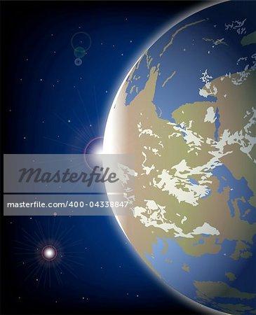 3D Model of Earth Planet. Vector illustration