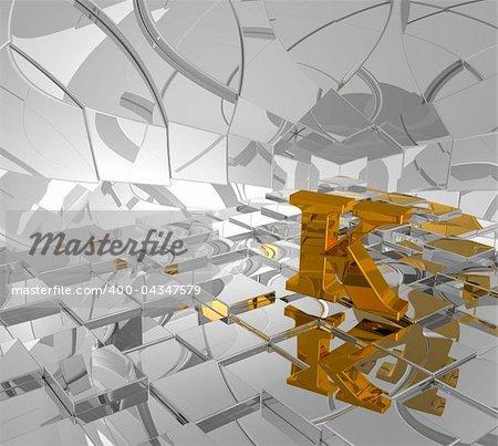 cubes background and golden letter k - 3d illustration