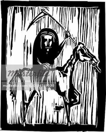 Grim reaper horseman or famine riding a skeleton horse