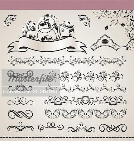 Illustration set floral ornate design elements - vector