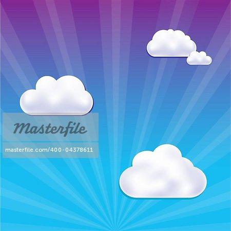 Cartoon Cloud And Sky, Vector Illustration