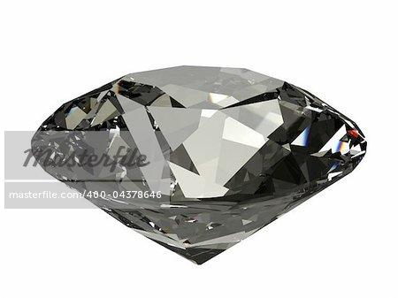 An isolated dark brilliant cut diamond on white background