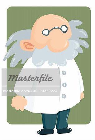 Cartoon professor in lab coat and bushy mustache. Green square behind