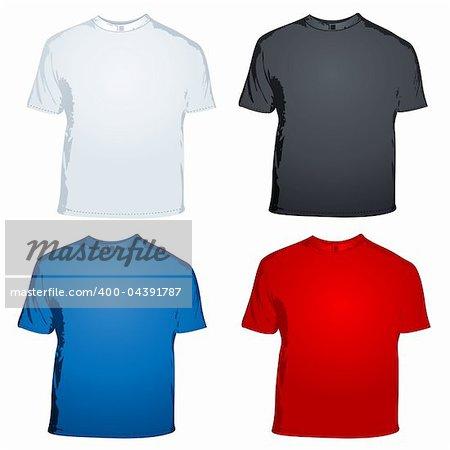 illustration of male t shirts on white background