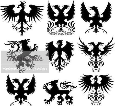 heraldic crest vector set