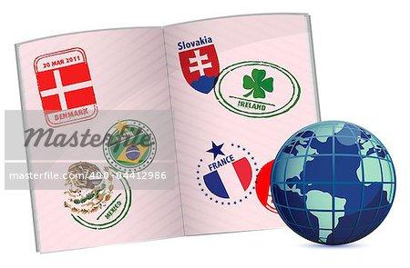 globe and passport illustration design with around the world stamps