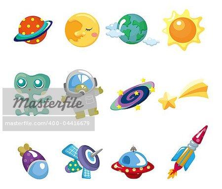 cartoon space element icons set