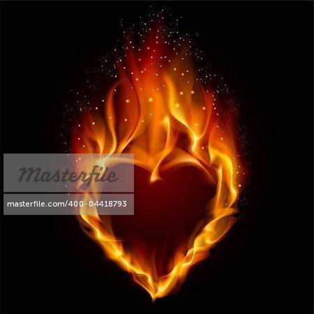 Heart in Fire. Illustration on black background for design