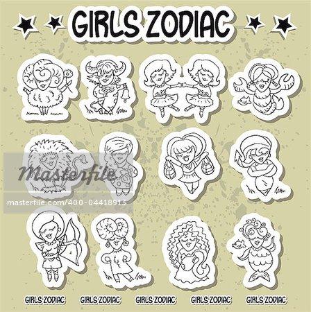 Girls zodiac icons horoscope sign