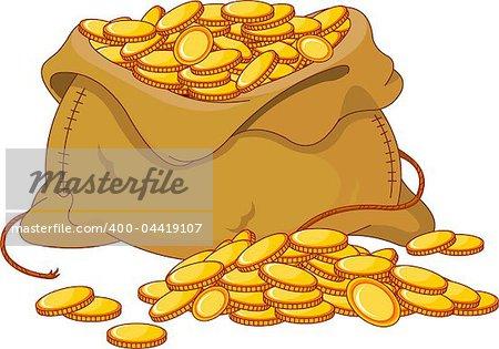 Illustration of bag full of golden coin