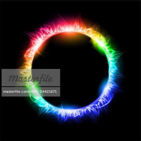 Colorful Solar eclipse. Illustration on black background for design