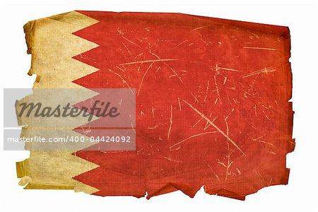 Bahraini Flag old, isolated on white background