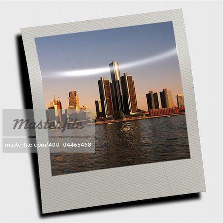 Snapshot of waterfront Detroit skyline at dusk