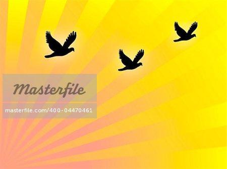 Black birds flying in a yellow backdrop
