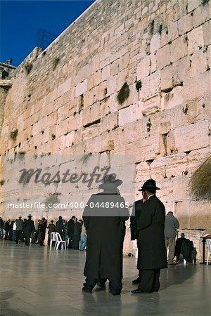 Orthodox Jews praying at the Wailing Wall Jerusalem Israel