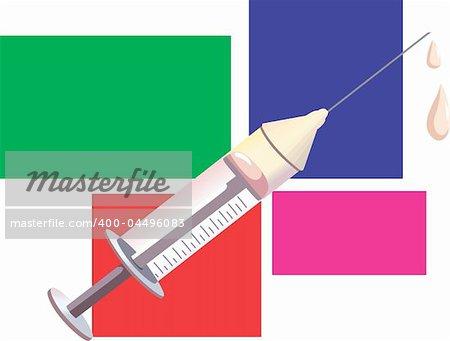 Illustration of syringe dropping medicine