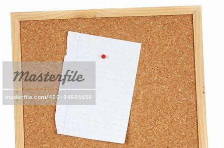 Blank sheet of paper on pin board
