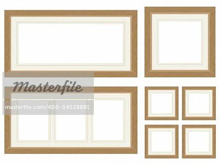 Set of wood effect picure frames