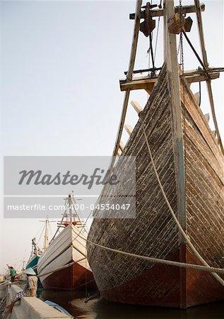 Makassar schooners (pinisi) in Sunda Kelapa, the old port of Jakarta, Indonesia