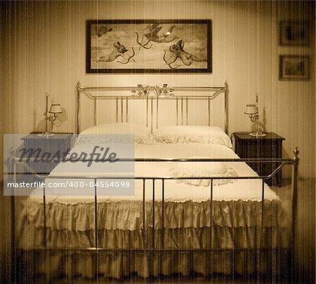 old fashion bedroom grunge film image