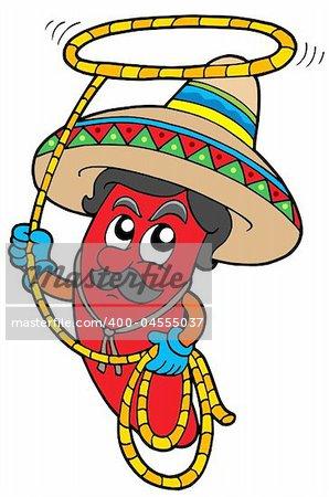 Cartoon Mexican chilli with lasso - vector illustration.