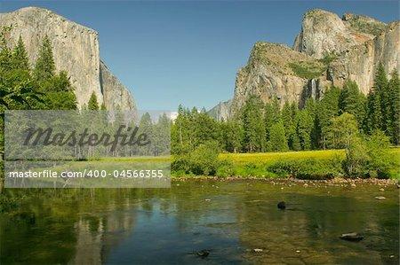 View of Yosemite Valley, the Merced River, El Capitan and Bridalveil Falls in Yosemite National Park, California.