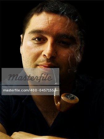 gentleman smoking pipe portrait relaxing