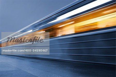Subway. Underground train, motion blur