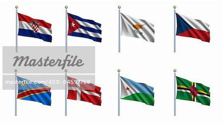 World flag set 06 - Croatia, Cuba, Cyprus, Czech Republic, Congo - Democratic Republic, Denmark, Djibouti and Dominica