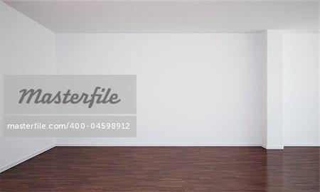 3d rendering of an empty room with dark wood floor