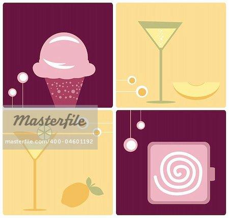 Wine and Delicious Dessert Vector Food Clip-Art