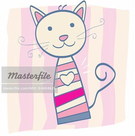 Stripped small cute baby kitten. Vector Illustration.