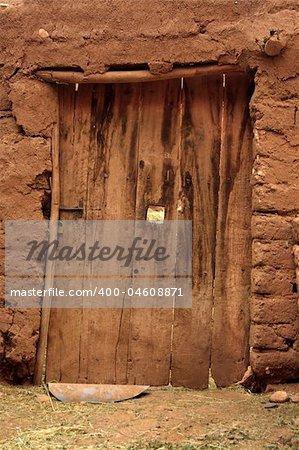 old damaged door in Maroccan suburbs