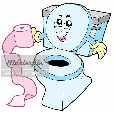 Cartoon toilet on white background - vector illustration.