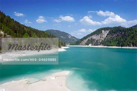 The Sylvensteinspeicher Lake on a sunny dayin Bavaria