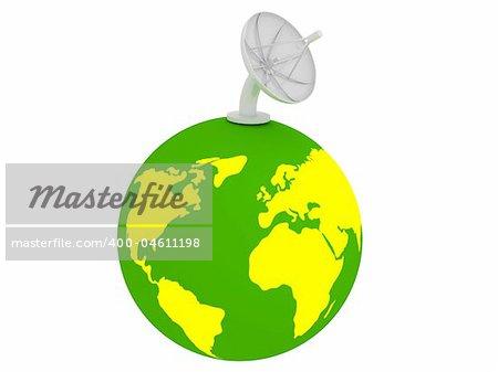 3d render of Satellite dish. Communication concept.