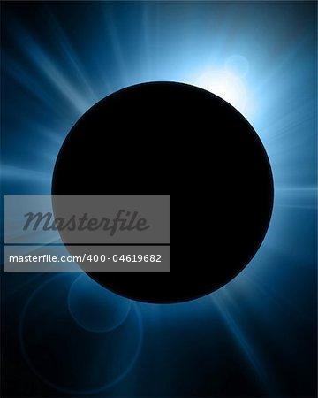 solar eclipse on a dark blue background