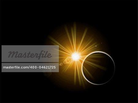 Sunrise or sunset behind a planet on black background.