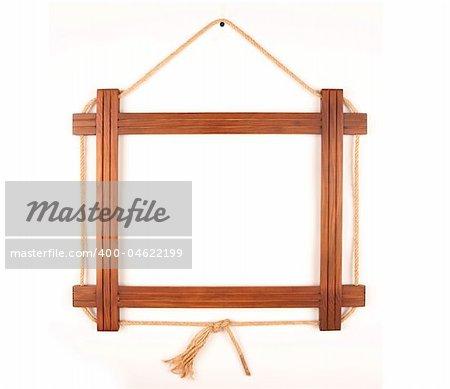 Wooden frame.  Hung down wooden frame.