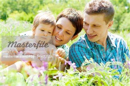 Cheerful family having fun outdoors