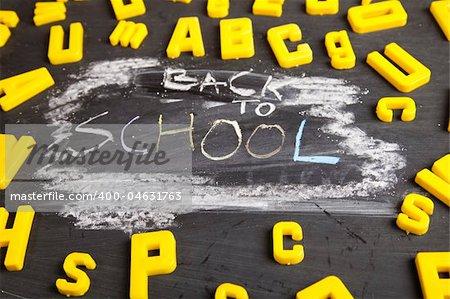 Inscription on a school chalkboard - back to school