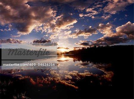 A dramatic sunset on a beautiful lake, Buskerud, Norway