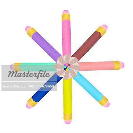 Illustration set colors pencils - vector